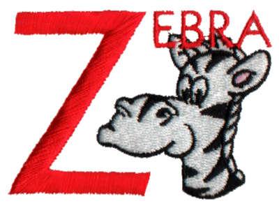 "Embroidery Design: Kiddie Alphabet Z2.82"" x 1.99"""