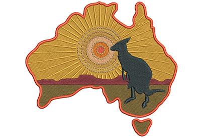 Embroidery Design: Kangaroo Scene Lg 6.09w X 5.43h