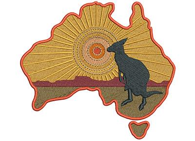 Embroidery Design: Kangaroo Scene Med 5.08w X 4.53h