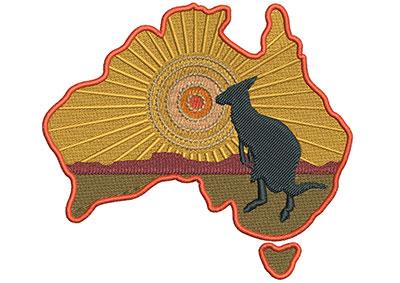 Embroidery Design: Kangaroo Scene Sm 4.08w X 3.64h