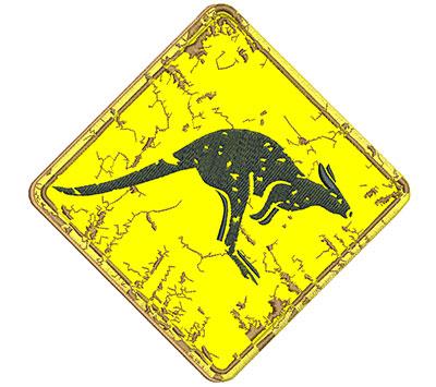 Embroidery Design: Kangaroo Sign Applique 7.77w X 7.70h