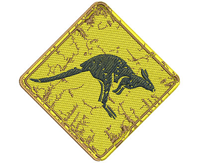 Embroidery Design: Kangaroo Sign Med 4.00w X 3.97h