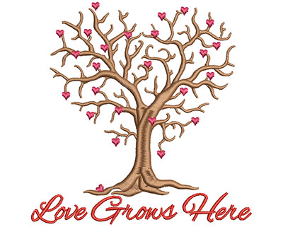 Embroidery Design: Love grows here small 4.87w X 4.83h