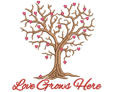 Embroidery Design: Love grows here large<br> 6.81w X 6.75h