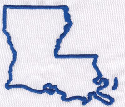 "Embroidery Design: Louisiana Outline3.30"" x 3.77"""