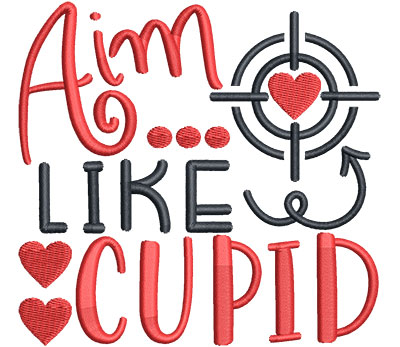 Embroidery Design: Aim Like Cupid  4.73 w X 4.51 h