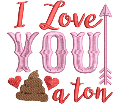 Embroidery Design: Love You Ton4.61 w x 4.50 h