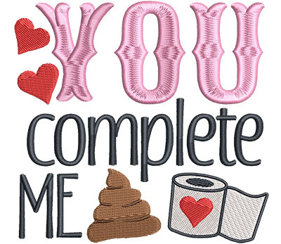Embroidery Design: You Complete Me4.76 w x 4.52 h