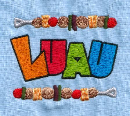 "Embroidery Design: LUAU (small)3.94"" x 2.41"""