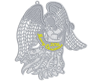 Embroidery Design: Lace Angel Lg Tag 6.98w X 7.77h