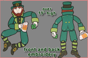 Embroidery Design: Swing & Sway Leapin Leprechaun over 19in high