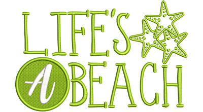 Embroidery Design: Lifes A Beach Lg 8.17w X 5.26h