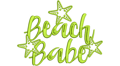 Embroidery Design: Beach Babe Lg 7.34w X 5.63h