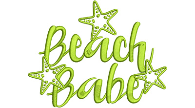 Embroidery Design: Beach Babe Med 5.88w X 4.51h