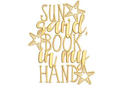 Embroidery Design: Sun Sand Book In My Hand Lg 4.94w X 6.28h