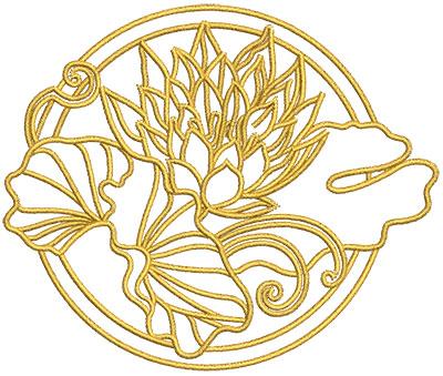 Embroidery Design: Lotus Art embellishment 1 4.02w X 3.36h