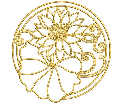 Embroidery Design: Lotus Art Embellishment 2 3.90w X 4.02h
