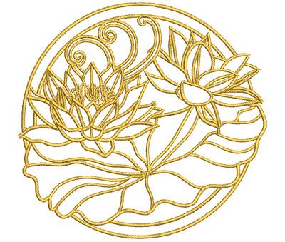 Embroidery Design: Lotus Art Embellishment 3 4.01w X 3.81h