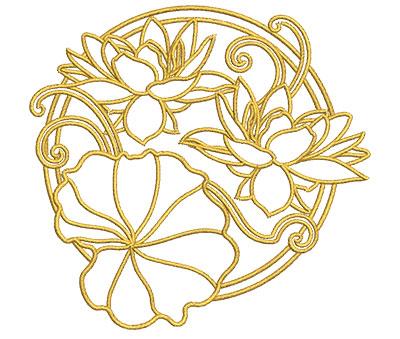 Embroidery Design: Lotus Art Embellishment 5 3.99w X 3.79h