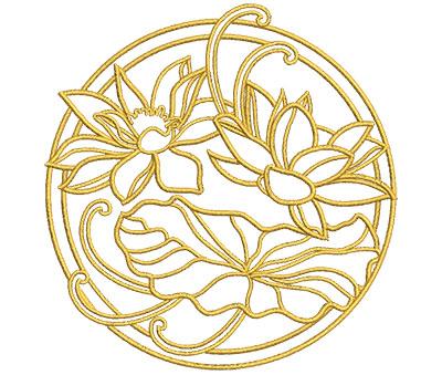Embroidery Design: Lotus Art Embellishment 6 3.84w X 3.99h