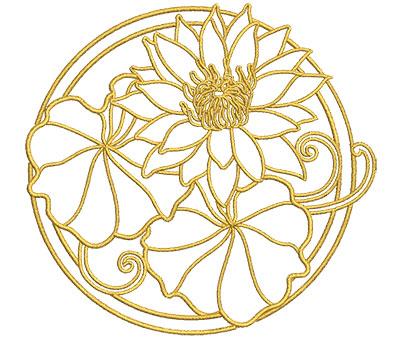 Embroidery Design: Lotus Art Embellishment 8 3.98w X 3.76h