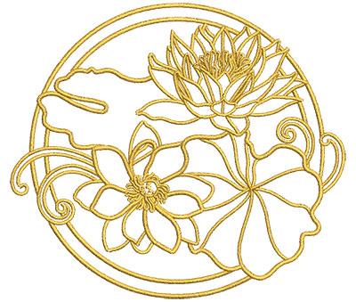 Embroidery Design: Lotus Art Embellishment 9 4.01w X 3.54h