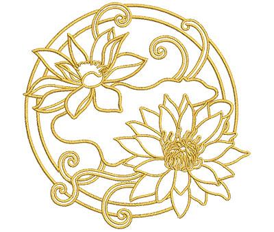 Embroidery Design: Lotus Art Embellishment 10 3.99w X 3.98h