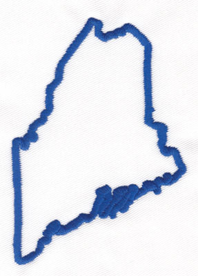 """Embroidery Design: Maine Outline3.69"""" x 2.57"""""""