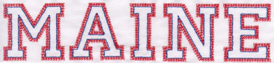 """Embroidery Design: Maine Name1.81"""" x 7.98"""""""