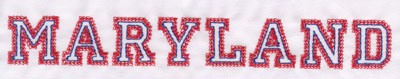 """Embroidery Design: Maryland Name1.06"""" x 8.00"""""""