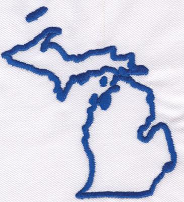 "Embroidery Design: Michigan Outline2.65"" x 0.98"""