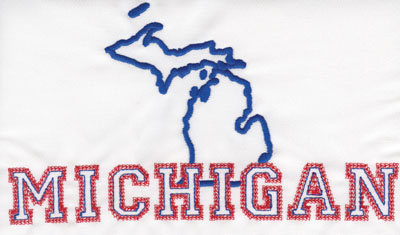 """Embroidery Design: Michigan Outline and Name4.51"""" x 7.99"""""""