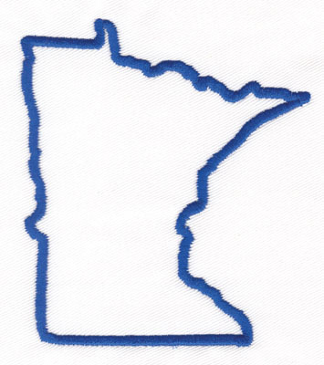 "Embroidery Design: Minnesota Outline3.67"" x 3.23"""