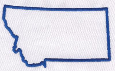 "Embroidery Design: Montana Outline2.57"" x 4.42"""