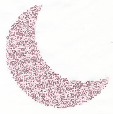 Embroidery Design: Stipple Moon High5.40w X 5.36h