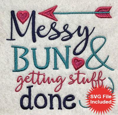 Embroidery Design: Messy Bun Applique 5.10w X 5.01h
