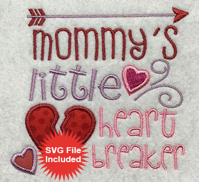 Embroidery Design: Mommys Heartbreaker Applique 4.52w X 4.28h