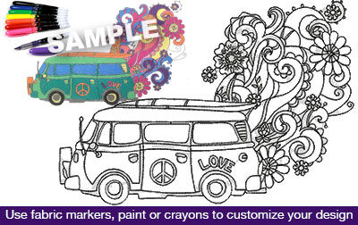 Embroidery Design: Magic Bus Coloring Tee 9.98w X 6.97h