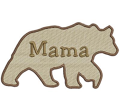 Embroidery Design: Mama Bear Sm 6.97w X 3.91h