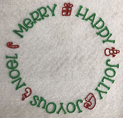 Embroidery Design: Merry Happy Lg 5.35w X 5.29h
