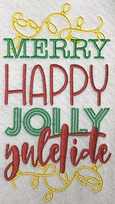 Embroidery Design: Merry Happy Jolly Lg 4.15w X 7.62h