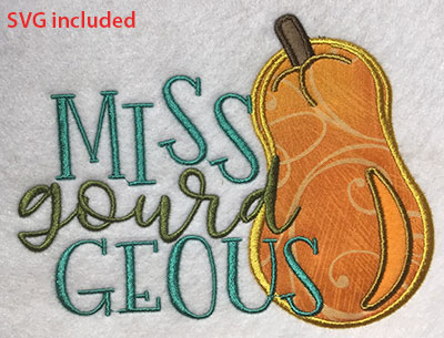 Embroidery Design: Miss Gourd Geous Applique Lg6.99w X 5.30h