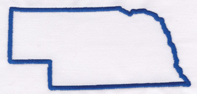 "Embroidery Design: Nebraska Outline2.36"" x 4.91"""