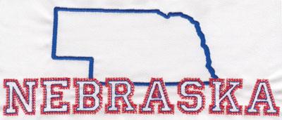"Embroidery Design: Nebraska Outline and Name3.22"" x 8.02"""