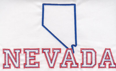 """Embroidery Design: Nevada Outline and Name4.58"""" x 7.96"""""""