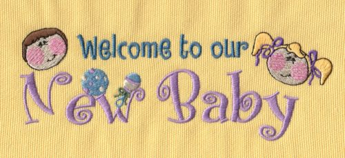 """Embroidery Design: Welcome New Baby6.98"""" x 2.53"""""""