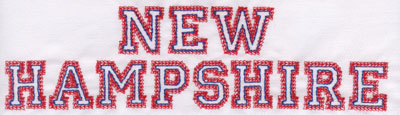 """Embroidery Design: New Hampshire Name2.19"""" x 8.02"""""""