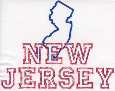 """Embroidery Design: New Jersey Outline and Name6.29"""" x 7.98"""""""