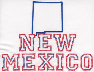 """Embroidery Design: New Mexico Outline and Name6.10"""" x 8.01"""""""