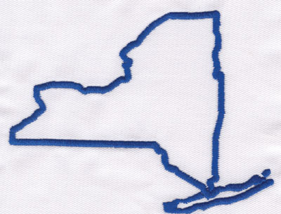 """Embroidery Design: New York Outline3.58"""" x 4.61"""""""